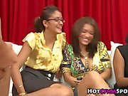 Real ebony babes watch a guy tug the dick HD