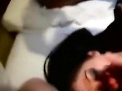 Hot brunette with big bosoms does blowjob in milf film