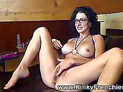 Hot milf plays with toys and rubs pussy