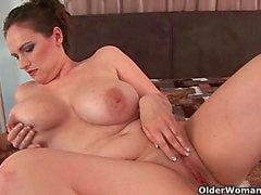 Mature mom gets her big tits cum glazed