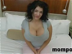 Brunette with huge tits blows his cock and gets banged for facial