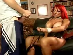Huge fake tits girl in corset fucked