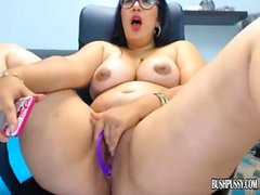 Chubby cutie big tits has orgasm rubbing clit and bush