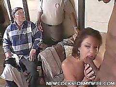 Cheating Wife Slobbering a Cock
