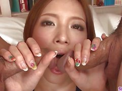 Asian Ena Ouka gets older man to deep fuck her tiny pussy