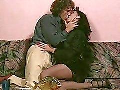 Anal craving MILF in black stockings