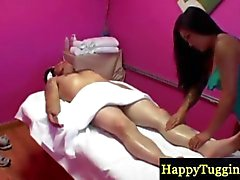 Asian milf gets naked during a massage