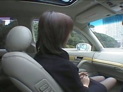 Horny japanese married milf sucking dick in car after jerking