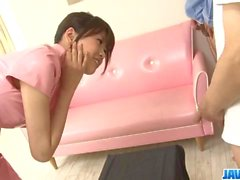 Ririka Suzuki needy milf kneels in front of a big cock