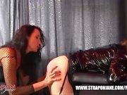 Femdom Strapon Jane fucks horny lesbian peach ass slut with massive strapon