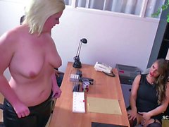 German Big Tit MILF in Real Casting with Young Couple