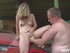 Milf on the farm sucks his soft cock erotically