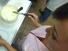 Waitress milf fucked in the kitchen of restaurant