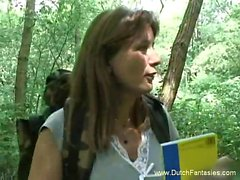 Dutch milf fucked in the woods Allena from 1fuckdatecom