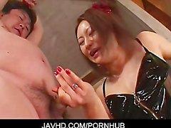 Mistress Koran bondage cock jerking foot job