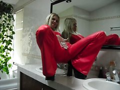 sadobitch - red panty cameltoe on clips-4-sale