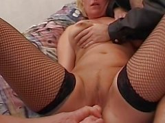 Sexy Mama In Fishnet Stockings Double Teamed