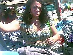 Upskirted This MILF at the Flea Market - Black Panties!