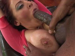 Sophie Dee smeared with oil and fucked hard