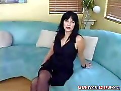 Busty brunette mom eats his rod and then gets her pussy jammed