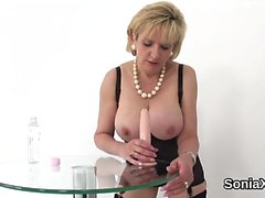 Unfaithful english milf lady sonia displays her huge puppies