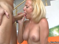 Mature lady has young cock to suck