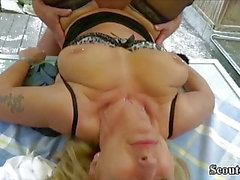 German Natural Tits MILF Seduce to Fuck in Garden by Neigbor