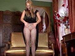 Striped Nylons rubbing Milf