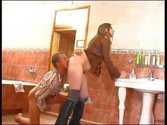 Girl fucked boy in bathroom