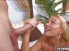 Mellanie Monroe rides her lips on a hard cock