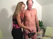 Cfnm girls give a guy a handjob at amateur sexparty