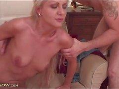Small boobs milf sucks cock and balls