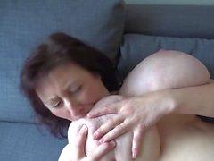 Euro MILF with macromastia hanging breasts