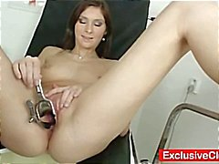 Cute brunette Kattie Gold goes in for a pussy exam and he takes pictures