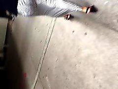 Jiggling booty white MILF in dress 3
