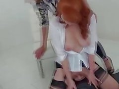 MILFs Lady Sonia and Red XXX in hot Lesbian sybian masturbation