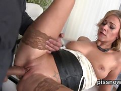 Speechless honey in underwear is geeting pissed on and penet