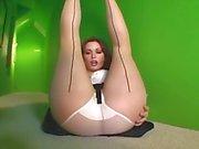Sexy milf strips in sheer panties and hosiery