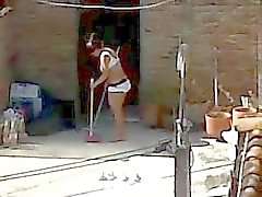 Spying Neighbor Cleaning - Milf Ass Lingerie Voyeur
