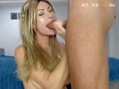 blonde milf throat fucks a thick cock xxx cam ONE