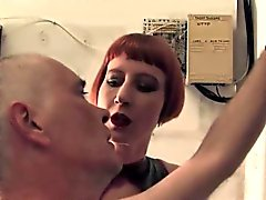 Femdom interrogater punishes worthless sub