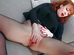 Cute RED XXX Solo Play In Nylons And Lingerie