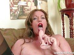 Redhead Milf masturbates in vintage lingerie nylons orgasmic dildo session