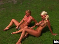 Busty lesbians like to masturbate outdoors