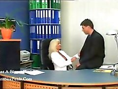 Sexy blonde mature secretary gets nailed by the boss on the desk