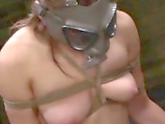 Bound slut gets gagged