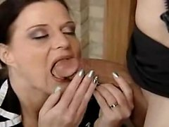 This lady milf gives wonderful blowjob