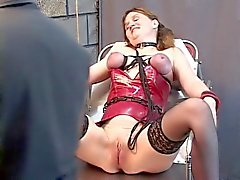 Slave restrained to table, breast bound and made lick masters shoes