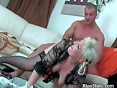 Blonde MILF gets wet pussy fucked many