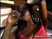 Ebony Babe In Heels With Her Dildo